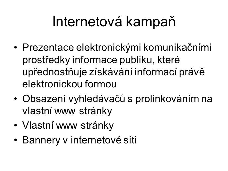 Internetová kampaň Prezentace elektronickými komunikačními prostředky informace publiku, které upřednostňuje získávání informací právě elektronickou f