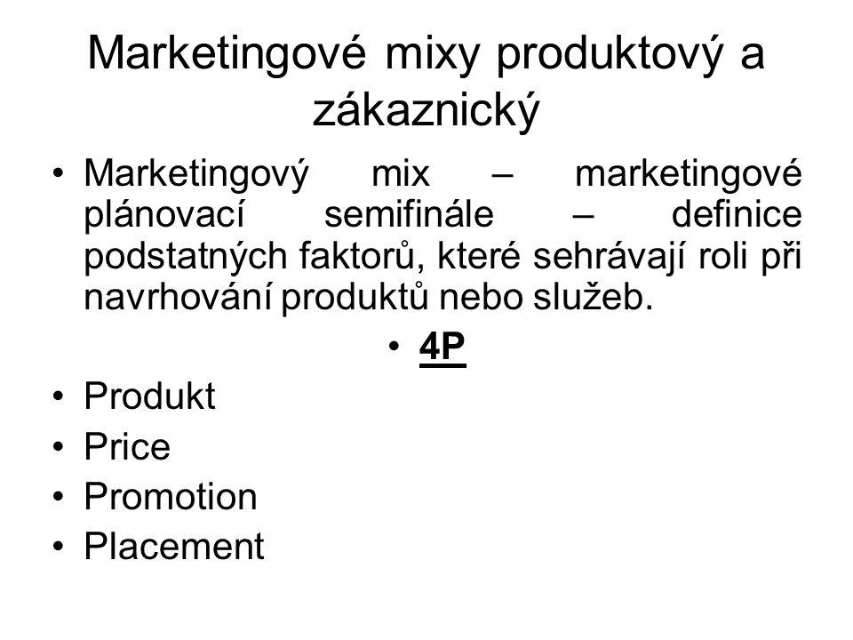 Marketingové mixy produktový a zákaznický Marketingový mix – marketingové plánovací semifinále – definice podstatných faktorů, které sehrávají roli př