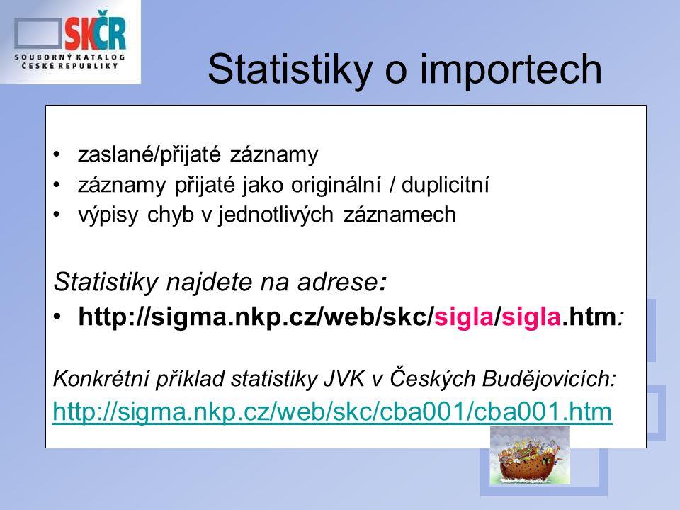 Statistiky o importech zaslané/přijaté záznamy záznamy přijaté jako originální / duplicitní výpisy chyb v jednotlivých záznamech Statistiky najdete na adrese: http://sigma.nkp.cz/web/skc/sigla/sigla.htm: Konkrétní příklad statistiky JVK v Českých Budějovicích: http://sigma.nkp.cz/web/skc/cba001/cba001.htm