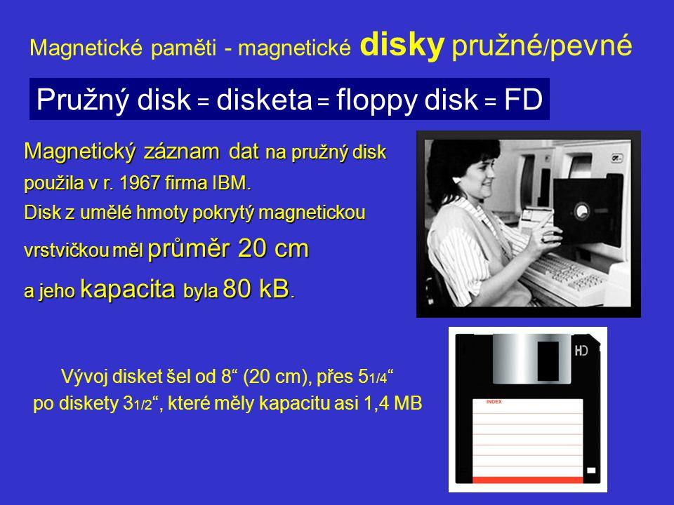 Magnetické paměti - magnetické disky pružné / pevné Diskety představovaly ve své době velký pokrok, postupně však byly pro svoji omezenou kapacitu (~1 MB), pomalý přístup k datům (~ 0,1 s) a nespolehlivost vytlačeny paměťovými kartami (flash disky).