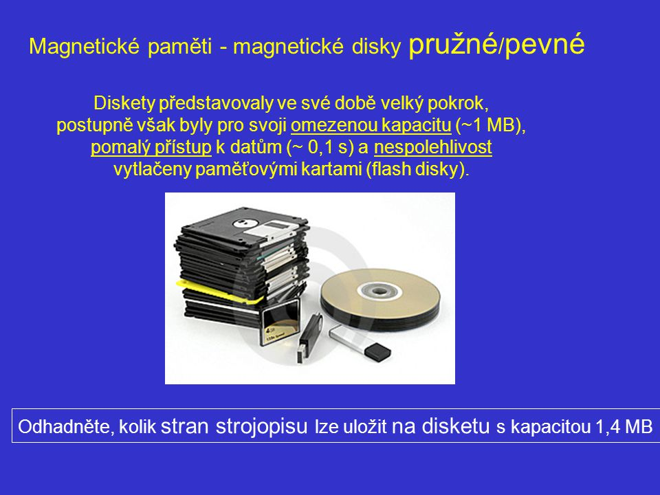 Magnetické paměti - magnetické disky pružné / pevné Diskety představovaly ve své době velký pokrok, postupně však byly pro svoji omezenou kapacitu (~1