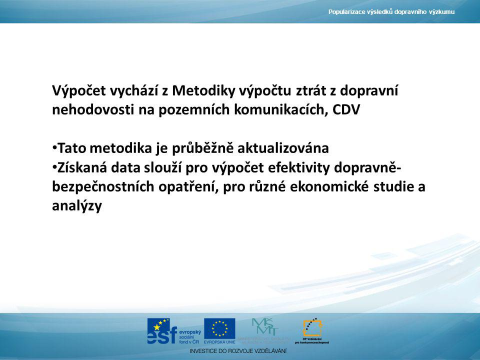 Výpočet vychází z Metodiky výpočtu ztrát z dopravní nehodovosti na pozemních komunikacích, CDV Tato metodika je průběžně aktualizována Získaná data sl