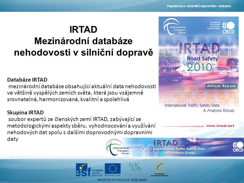 IRTAD Mezinárodní databáze nehodovosti v silniční dopravě Databáze IRTAD mezinárodní databáze obsahující aktuální data nehodovosti ve většině vyspělých zemích světa, která jsou vzájemně srovnatelná, harmonizovaná, kvalitní a spolehlivá Skupina IRTAD soubor expertů ze členských zemí IRTAD, zabývající se metodologickými aspekty sběru, vyhodnocování a využívání nehodových dat spolu s dalšími doprovodnými dopravními daty Popularizace výsledků dopravního výzkumu