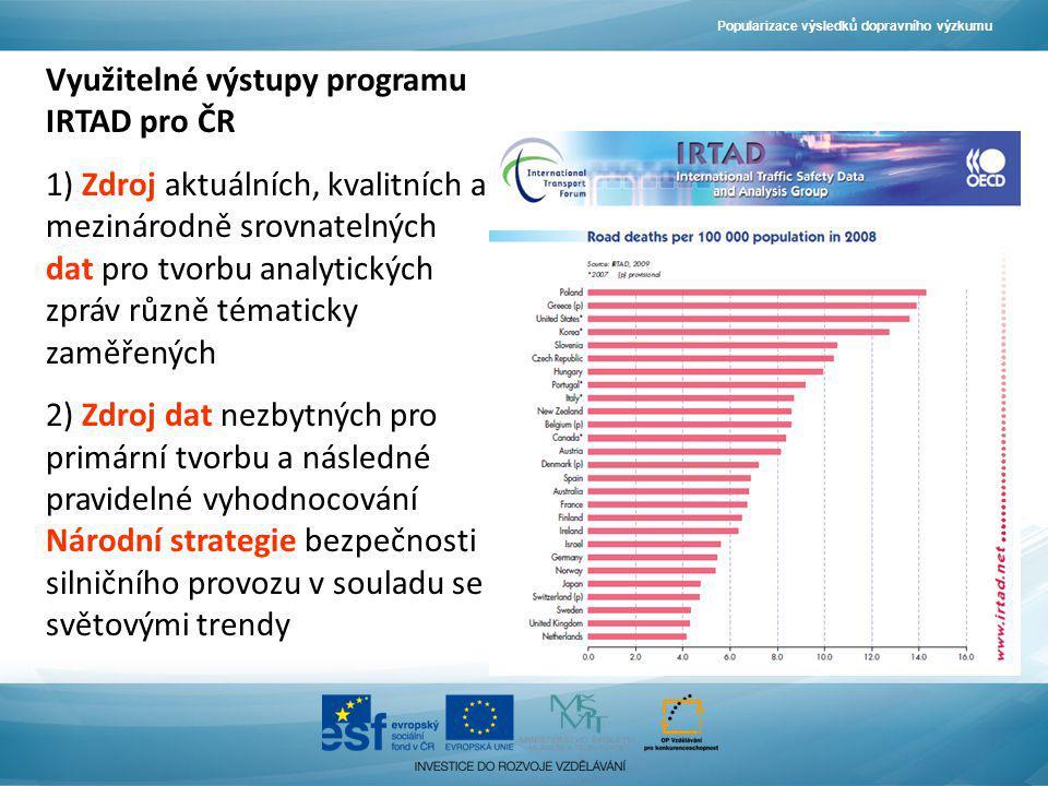 Využitelné výstupy programu IRTAD pro ČR 1) Zdroj aktuálních, kvalitních a mezinárodně srovnatelných dat pro tvorbu analytických zpráv různě tématicky