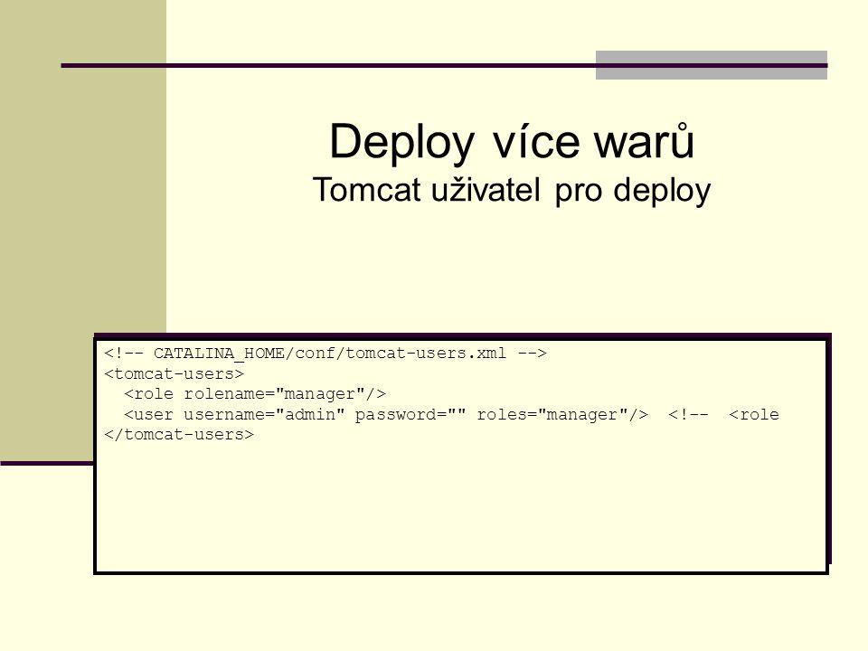 Deploy více warů Tomcat uživatel pro deploy