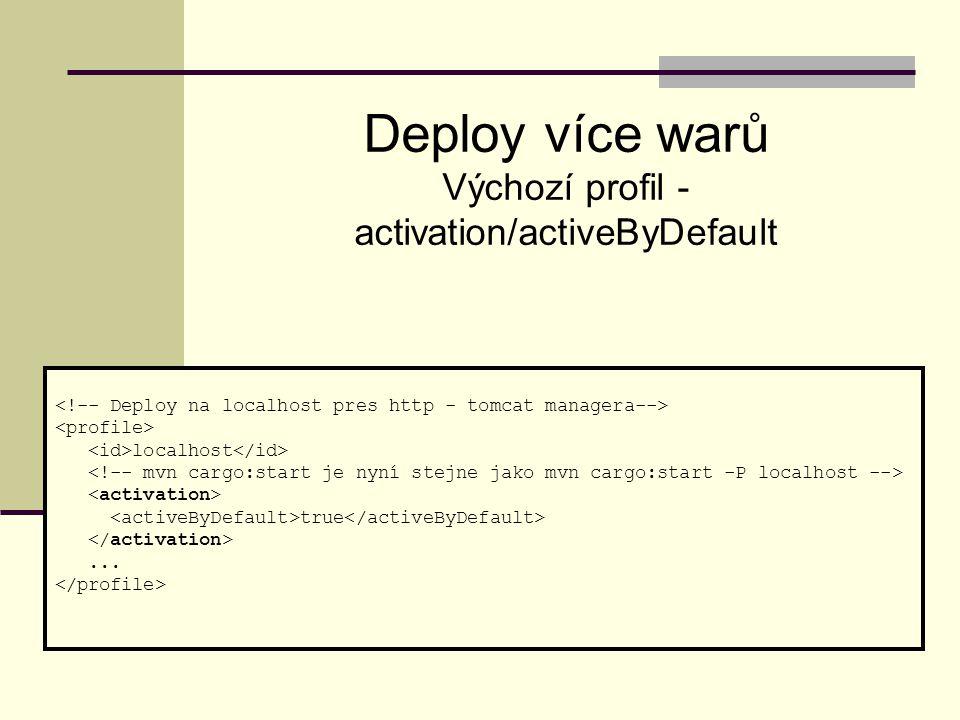 localhost true... Deploy více warů Výchozí profil - activation/activeByDefault
