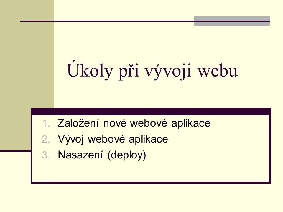 1. Založení nové webové aplikace 2. Vývoj webové aplikace 3.