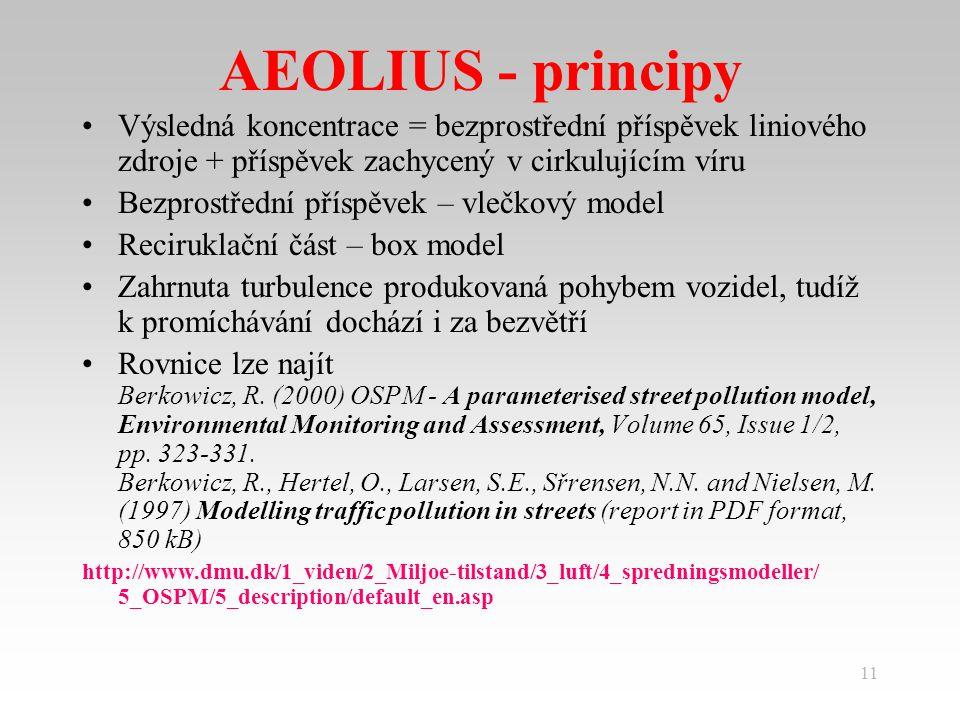 11 AEOLIUS - principy Výsledná koncentrace = bezprostřední příspěvek liniového zdroje + příspěvek zachycený v cirkulujícím víru Bezprostřední příspěvek – vlečkový model Reciruklační část – box model Zahrnuta turbulence produkovaná pohybem vozidel, tudíž k promíchávání dochází i za bezvětří Rovnice lze najít Berkowicz, R.