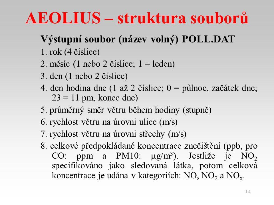 14 AEOLIUS – struktura souborů Výstupní soubor (název volný) POLL.DAT 1.