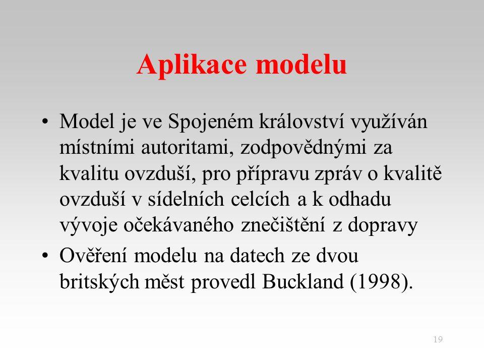 19 Aplikace modelu Model je ve Spojeném království využíván místními autoritami, zodpovědnými za kvalitu ovzduší, pro přípravu zpráv o kvalitě ovzduší v sídelních celcích a k odhadu vývoje očekávaného znečištění z dopravy Ověření modelu na datech ze dvou britských měst provedl Buckland (1998).