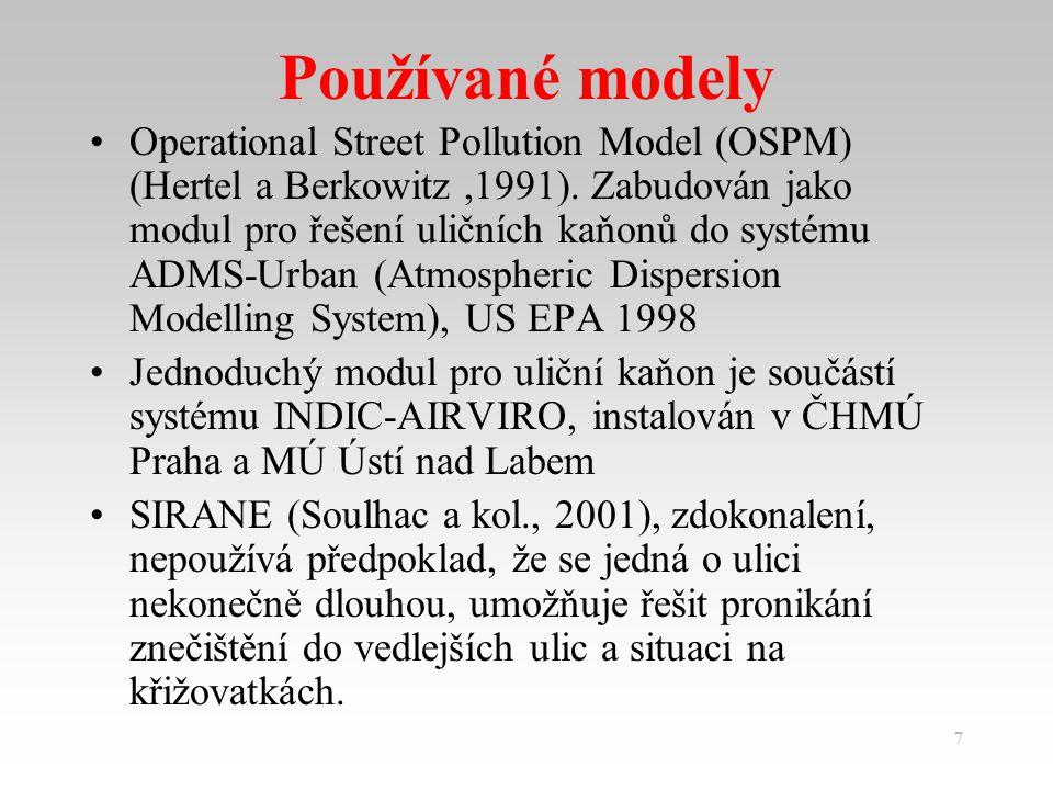 7 Používané modely Operational Street Pollution Model (OSPM) (Hertel a Berkowitz,1991).