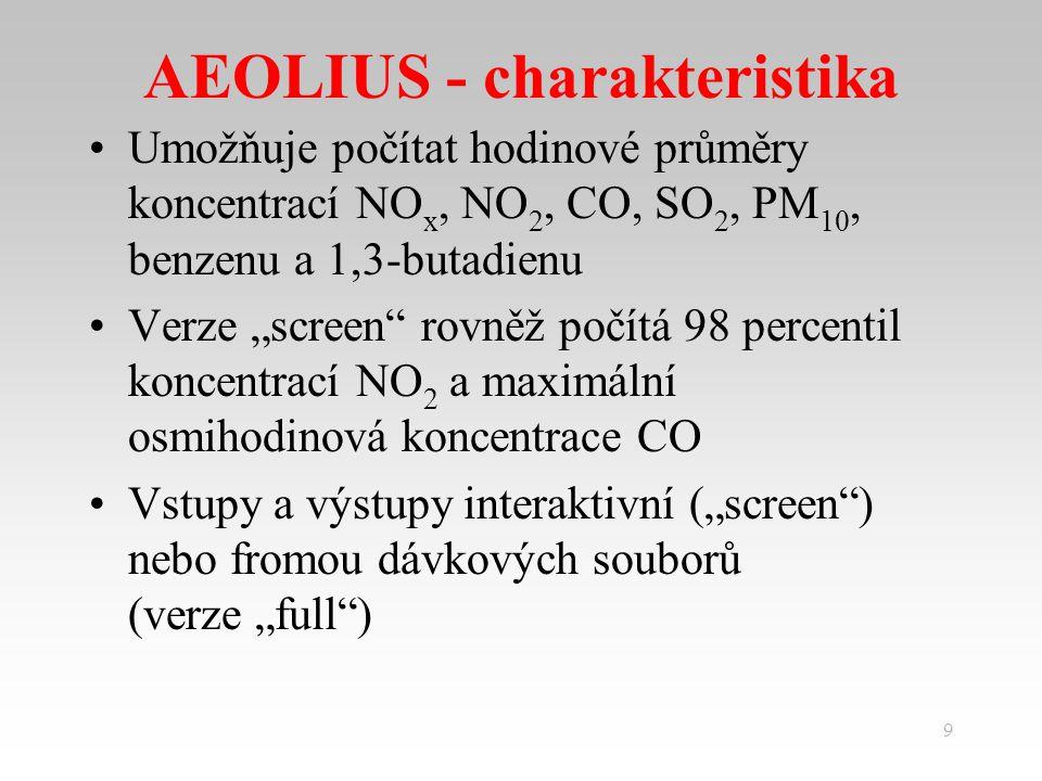 """9 AEOLIUS - charakteristika Umožňuje počítat hodinové průměry koncentrací NO x, NO 2, CO, SO 2, PM 10, benzenu a 1,3-butadienu Verze """"screen rovněž počítá 98 percentil koncentrací NO 2 a maximální osmihodinová koncentrace CO Vstupy a výstupy interaktivní (""""screen ) nebo fromou dávkových souborů (verze """"full )"""