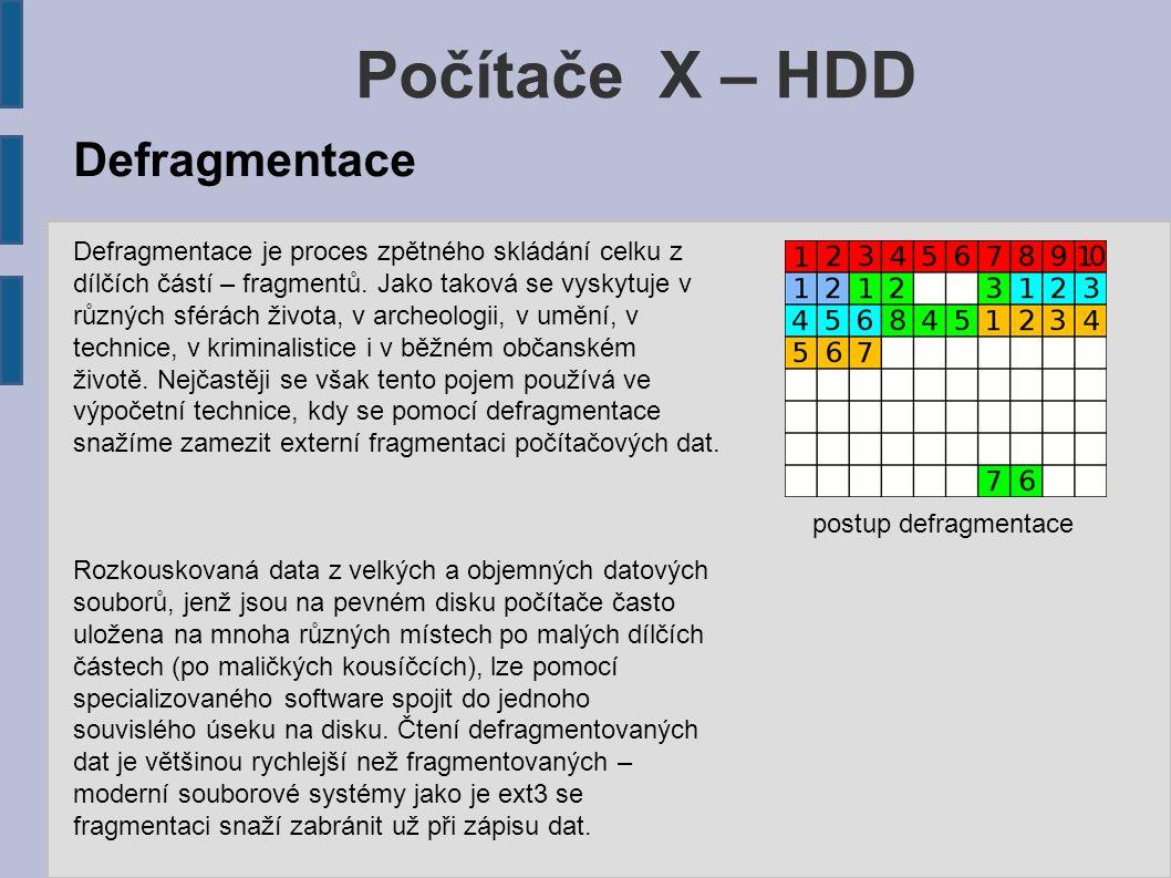 Počítače X – HDD postup defragmentace Defragmentace je proces zpětného skládání celku z dílčích částí – fragmentů. Jako taková se vyskytuje v různých