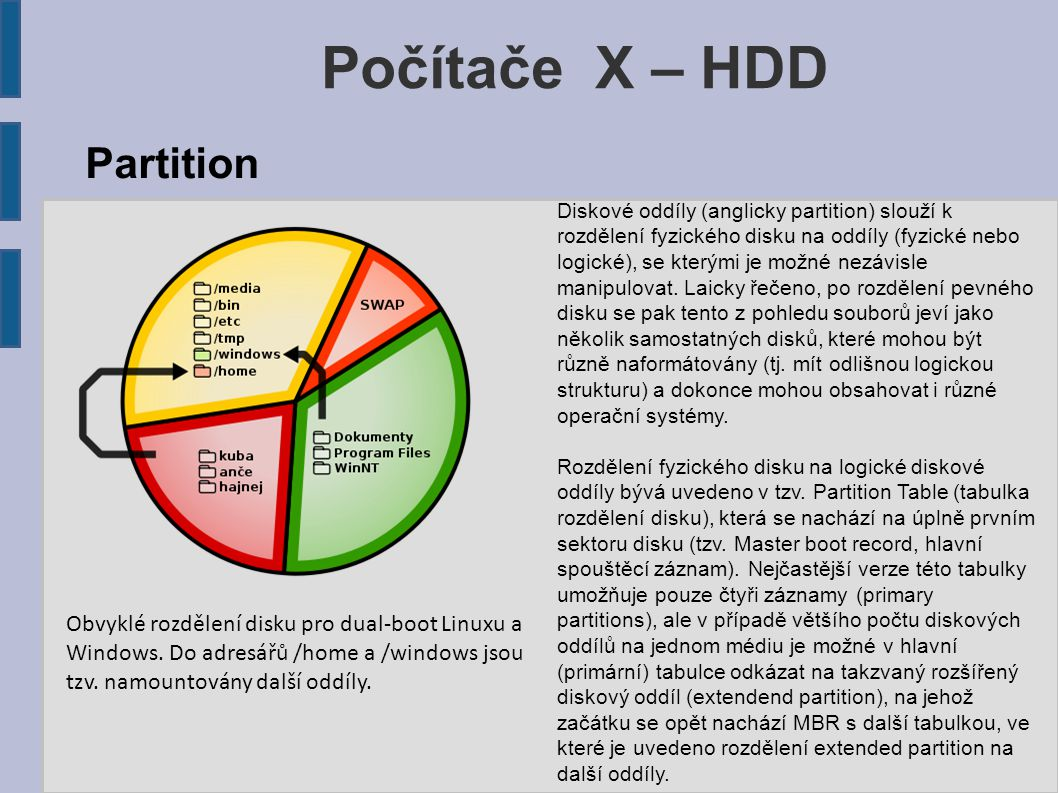 Počítače X – HDD Obvyklé rozdělení disku pro dual-boot Linuxu a Windows.