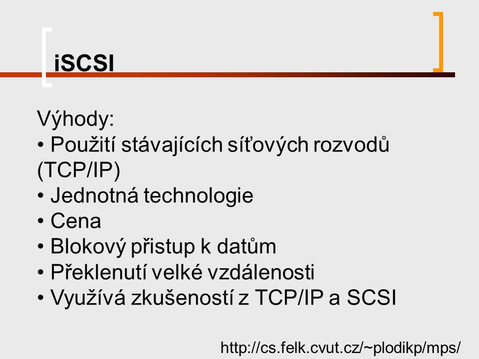 iSCSI http://cs.felk.cvut.cz/~plodikp/mps/ Výhody: Použití stávajících síťových rozvodů (TCP/IP) Jednotná technologie Cena Blokový přistup k datům Pře