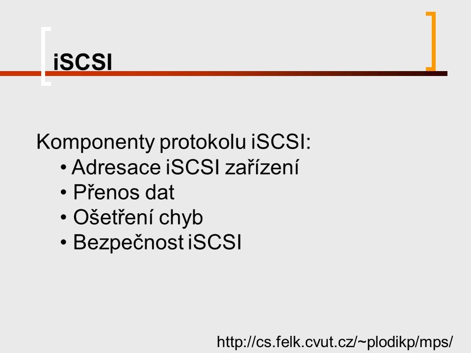 iSCSI http://cs.felk.cvut.cz/~plodikp/mps/ Komponenty protokolu iSCSI: Adresace iSCSI zařízení Přenos dat Ošetření chyb Bezpečnost iSCSI