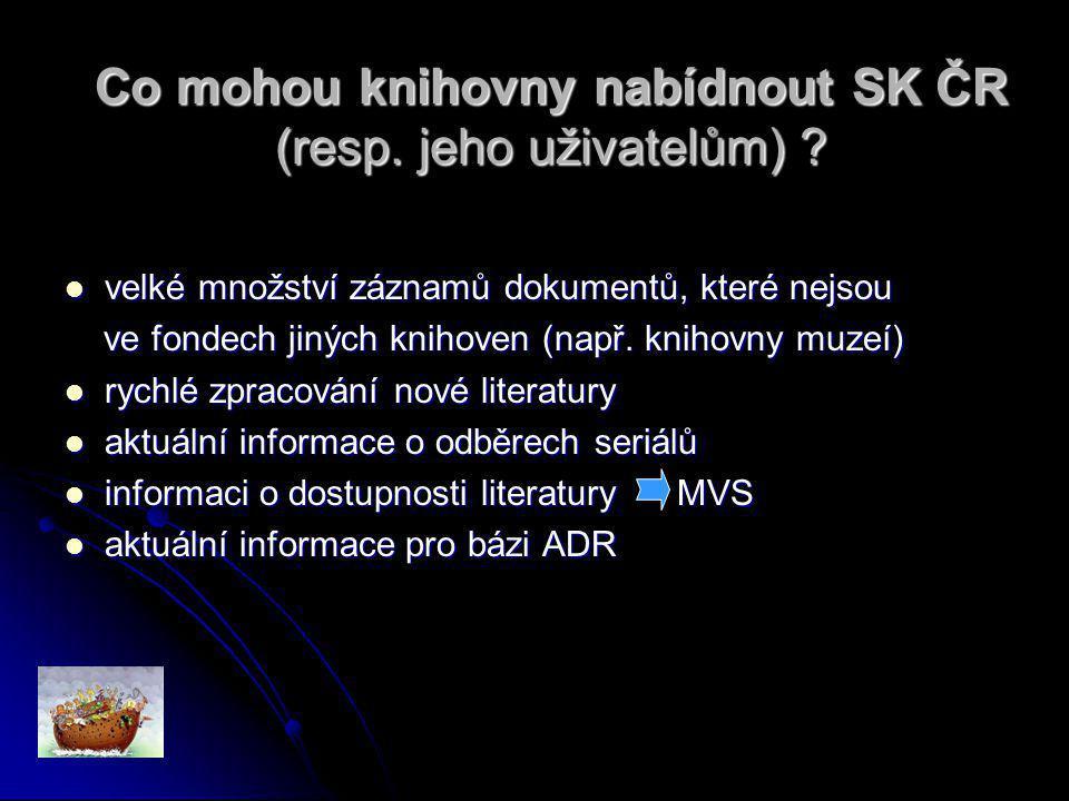 Kvalita záznamu = váha váha vyjadřuje kvalitu záznamu váha vyjadřuje kvalitu záznamu váha je důležitá při deduplikaci záznamů váha je důležitá při deduplikaci záznamů základní váhu přiděluje správce SK ČR (4..6..8..10) na základě vstupní analýzy dat (testování dat) základní váhu přiděluje správce SK ČR (4..6..8..10) na základě vstupní analýzy dat (testování dat) při importu se může základní váha u jednotlivých záznamů zvyšovat o bonusové body při importu se může základní váha u jednotlivých záznamů zvyšovat o bonusové body + 2 body - vazba na autority + 1 bod - přítomnost ISSN/ISBN + 1 bod - přítomnost předmětových hesel + 1 bod - přítomnost propojovacích polí atd.