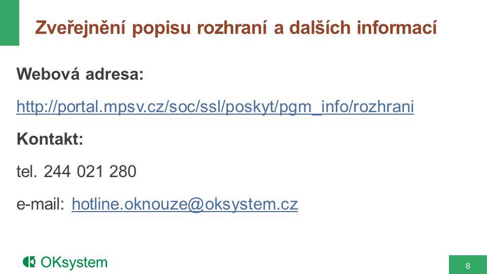Webová adresa: http://portal.mpsv.cz/soc/ssl/poskyt/pgm_info/rozhrani Kontakt: tel.