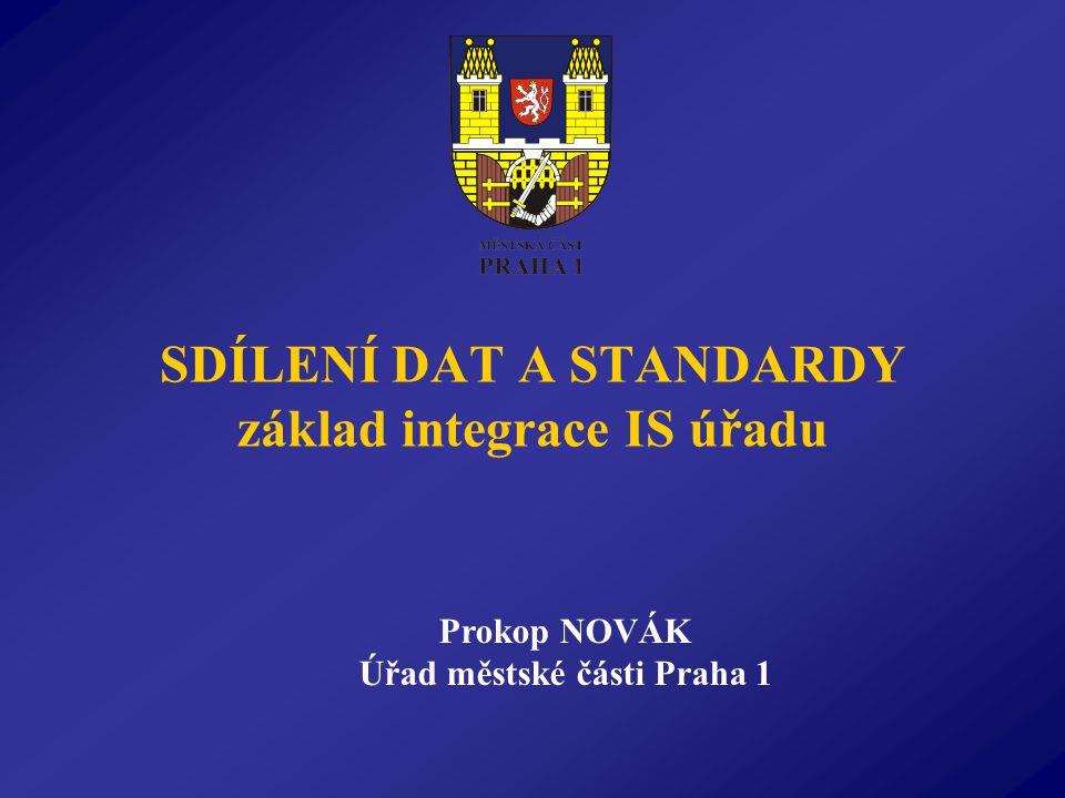 SDÍLENÍ DAT A STANDARDY základ integrace IS úřadu Prokop NOVÁK Úřad městské části Praha 1