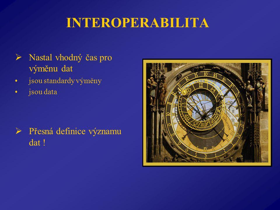 INTEROPERABILITA  Nastal vhodný čas pro výměnu dat jsou standardy výměny jsou data  Přesná definice významu dat !