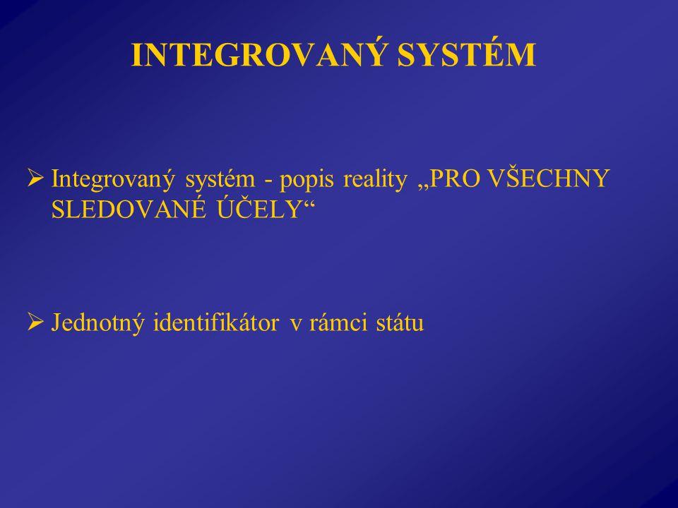"""INTEGROVANÝ SYSTÉM  Integrovaný systém - popis reality """"PRO VŠECHNY SLEDOVANÉ ÚČELY  Jednotný identifikátor v rámci státu"""