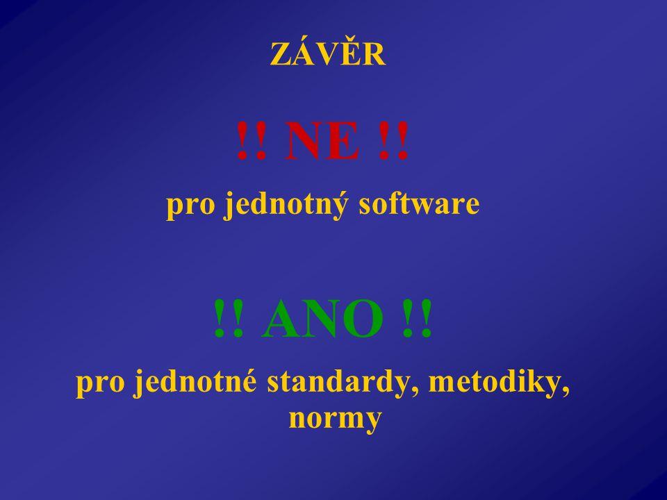 ZÁVĚR !! NE !! pro jednotný software !! ANO !! pro jednotné standardy, metodiky, normy