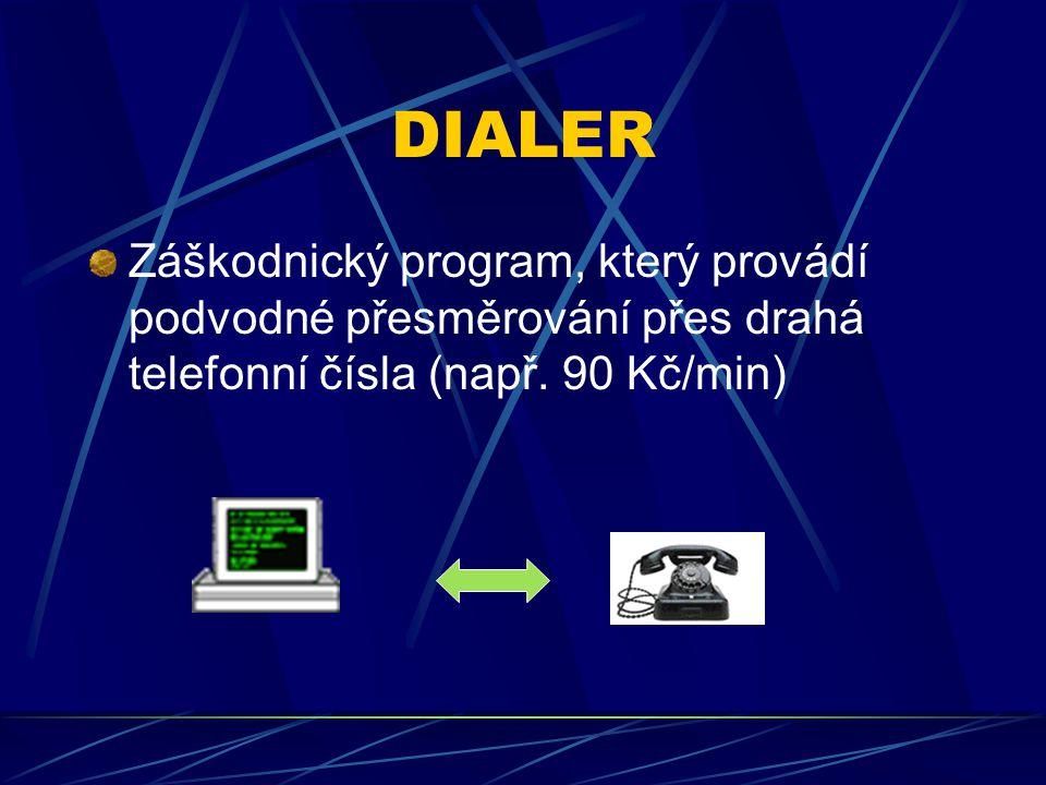 DIALER Záškodnický program, který provádí podvodné přesměrování přes drahá telefonní čísla (např. 90 Kč/min)