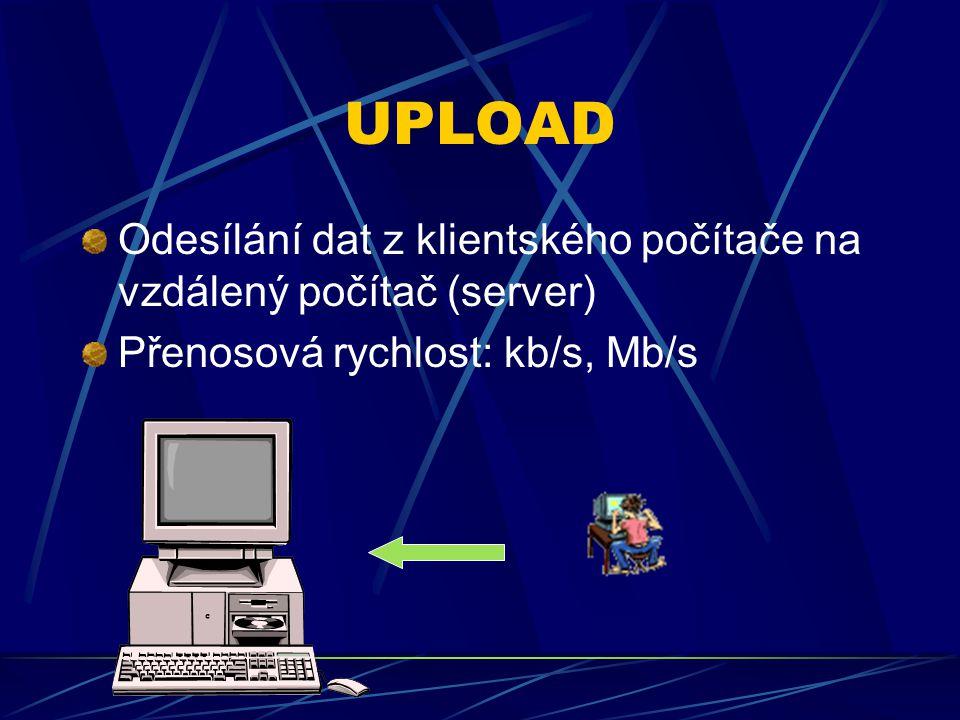 UPLOAD Odesílání dat z klientského počítače na vzdálený počítač (server) Přenosová rychlost: kb/s, Mb/s