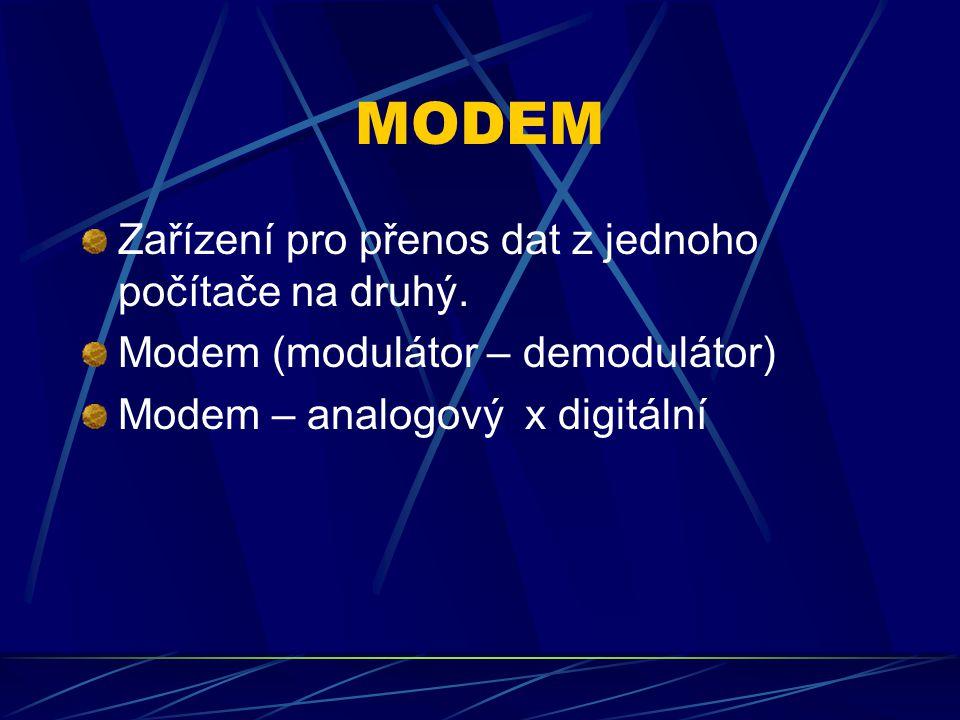 MODEM Zařízení pro přenos dat z jednoho počítače na druhý. Modem (modulátor – demodulátor) Modem – analogový x digitální