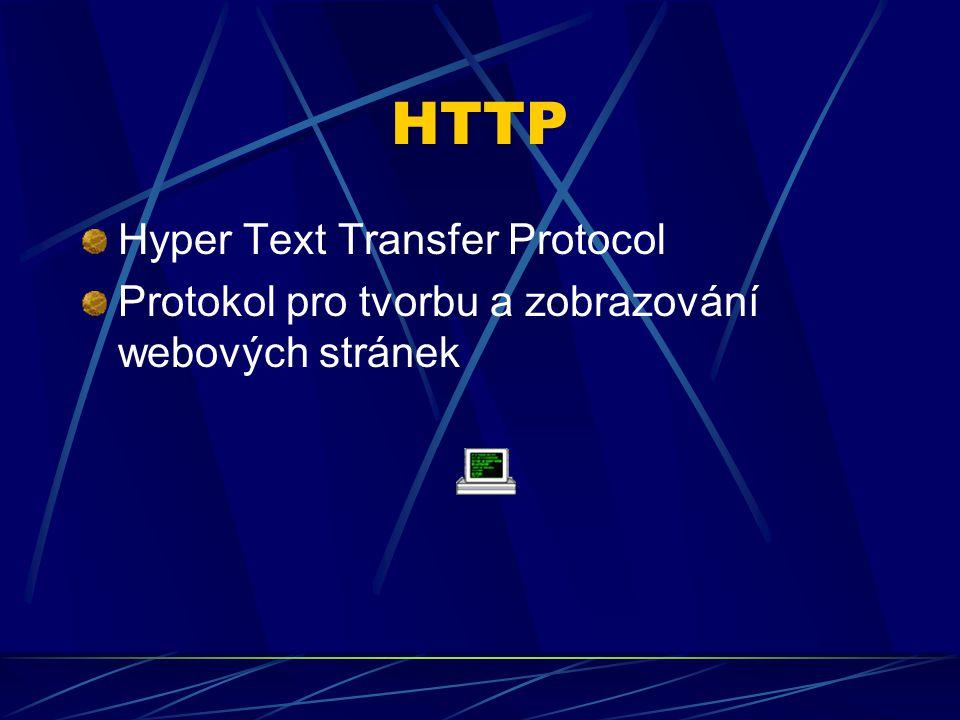 HTTP Hyper Text Transfer Protocol Protokol pro tvorbu a zobrazování webových stránek