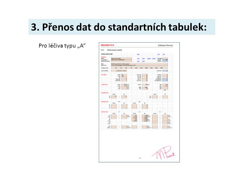 """3. Přenos dat do standartních tabulek: Pro léčiva typu """"A"""