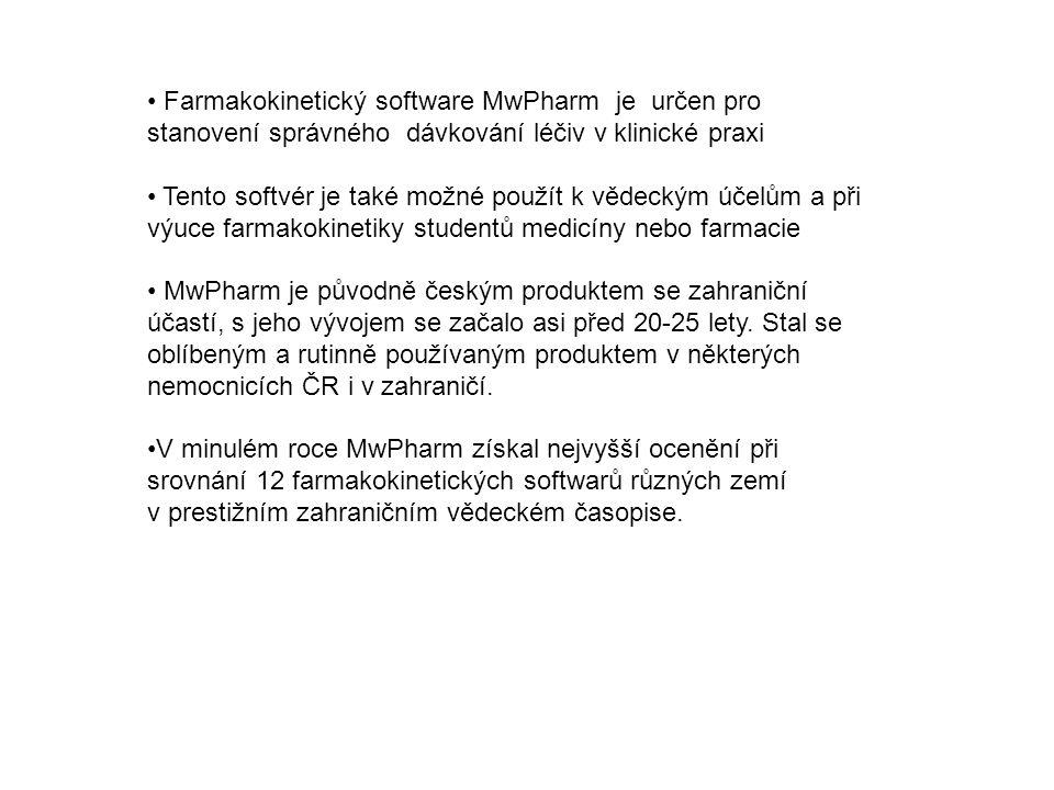 Farmakokinetický software MwPharm je určen pro stanovení správného dávkování léčiv v klinické praxi Tento softvér je také možné použít k vědeckým účelům a při výuce farmakokinetiky studentů medicíny nebo farmacie MwPharm je původně českým produktem se zahraniční účastí, s jeho vývojem se začalo asi před 20-25 lety.