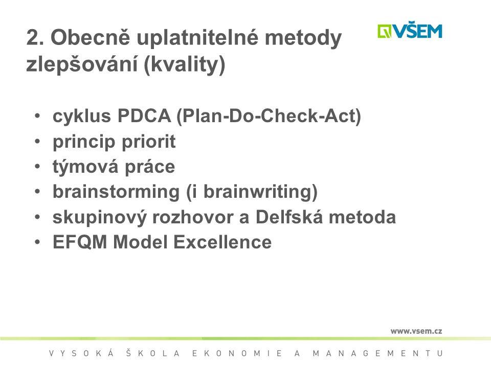 cyklus PDCA (Plan-Do-Check-Act) princip priorit týmová práce brainstorming (i brainwriting) skupinový rozhovor a Delfská metoda EFQM Model Excellence