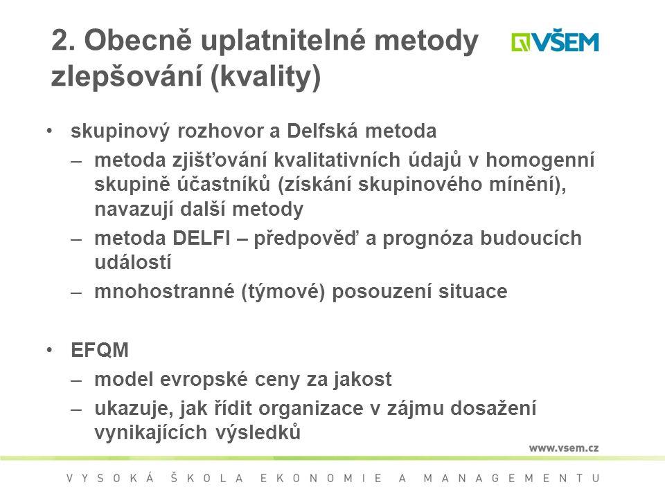 2. Obecně uplatnitelné metody zlepšování (kvality) skupinový rozhovor a Delfská metoda –metoda zjišťování kvalitativních údajů v homogenní skupině úča