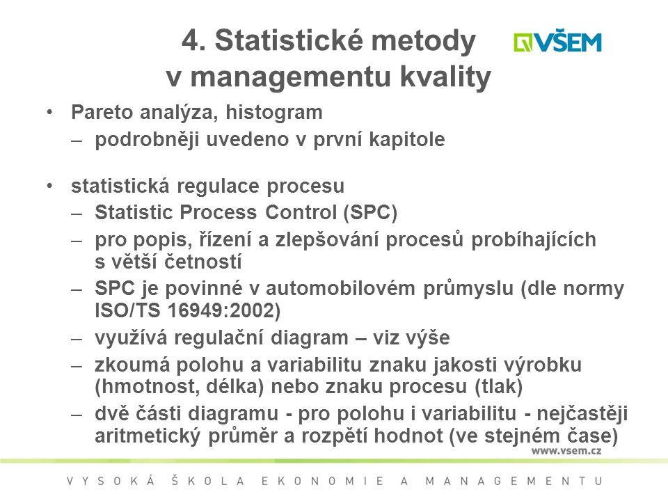 4. Statistické metody v managementu kvality Pareto analýza, histogram –podrobněji uvedeno v první kapitole statistická regulace procesu –Statistic Pro