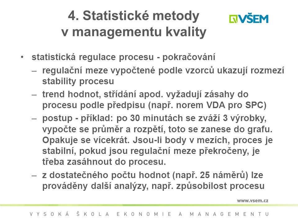 4. Statistické metody v managementu kvality statistická regulace procesu - pokračování –regulační meze vypočtené podle vzorců ukazují rozmezí stabilit