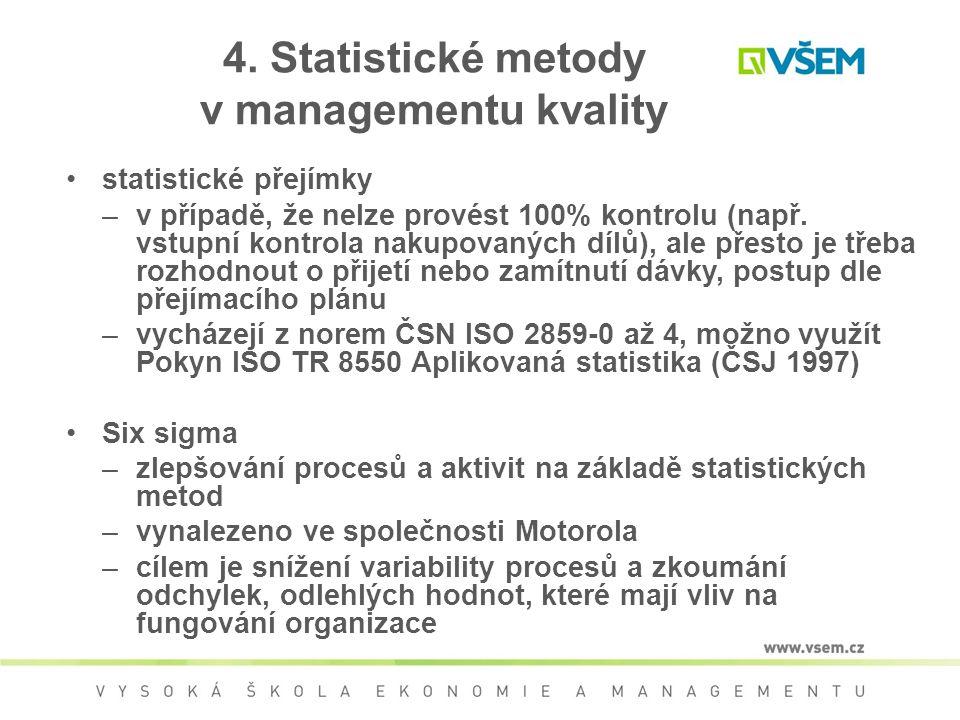 4. Statistické metody v managementu kvality statistické přejímky –v případě, že nelze provést 100% kontrolu (např. vstupní kontrola nakupovaných dílů)