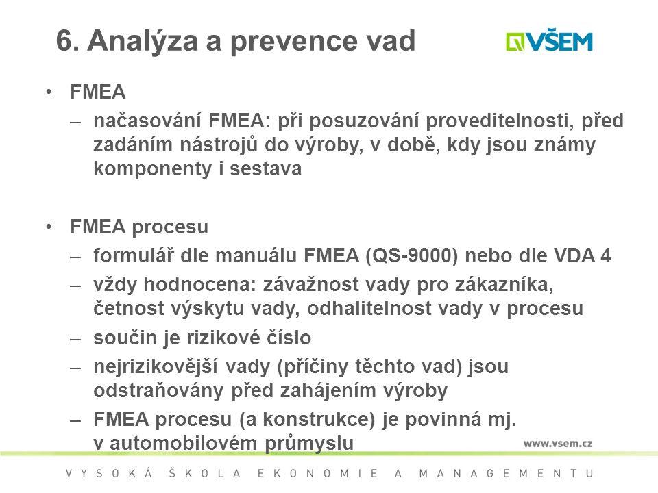 6. Analýza a prevence vad FMEA –načasování FMEA: při posuzování proveditelnosti, před zadáním nástrojů do výroby, v době, kdy jsou známy komponenty i