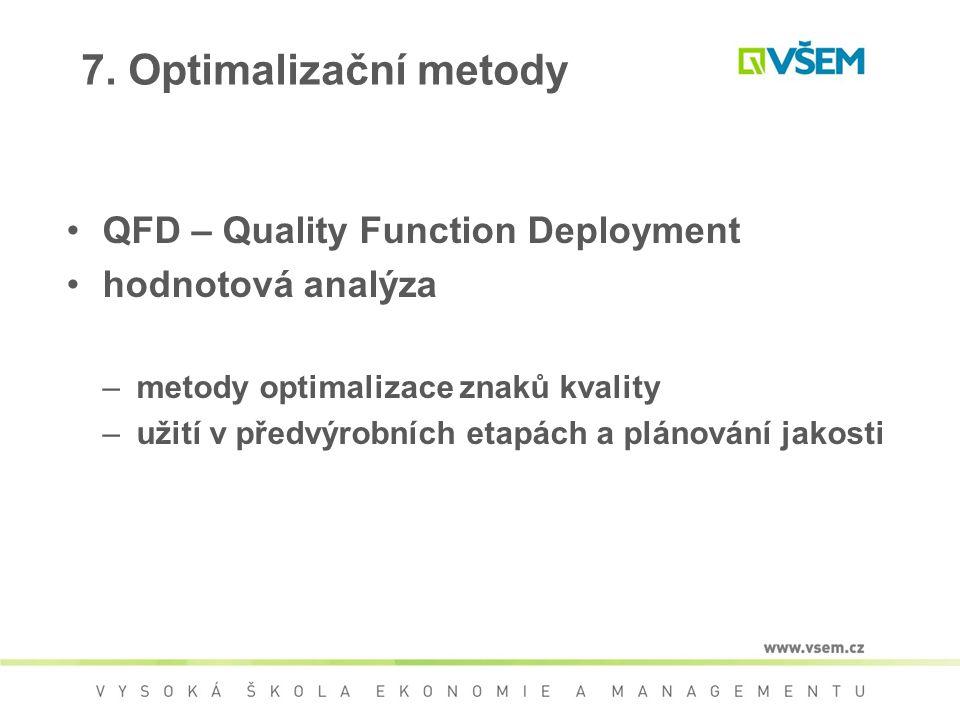 QFD – Quality Function Deployment hodnotová analýza –metody optimalizace znaků kvality –užití v předvýrobních etapách a plánování jakosti