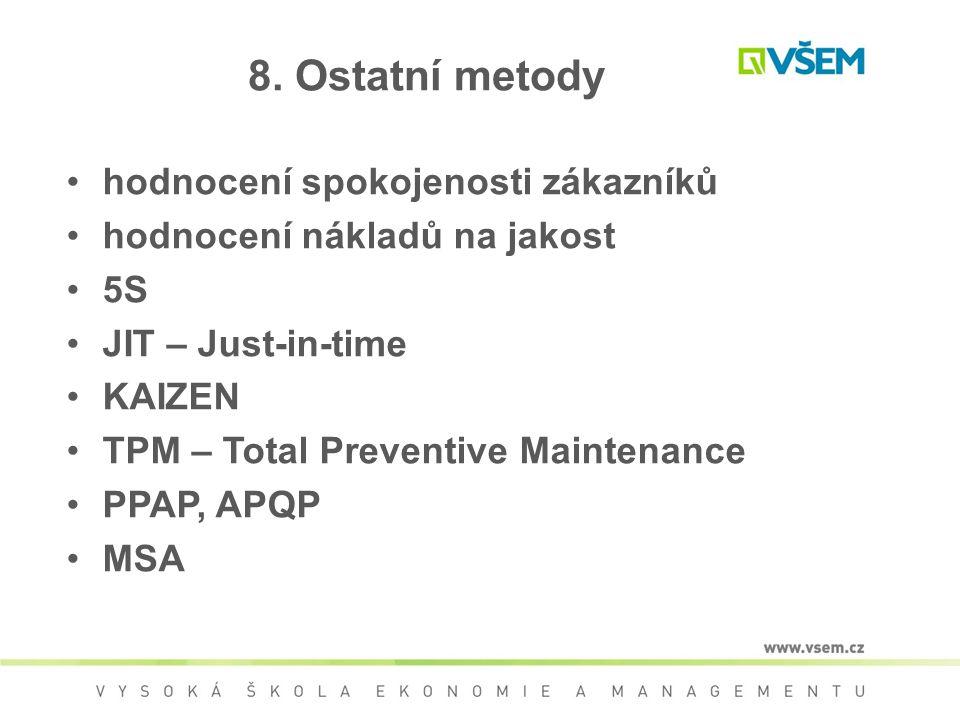 8. Ostatní metody hodnocení spokojenosti zákazníků hodnocení nákladů na jakost 5S JIT – Just-in-time KAIZEN TPM – Total Preventive Maintenance PPAP, A