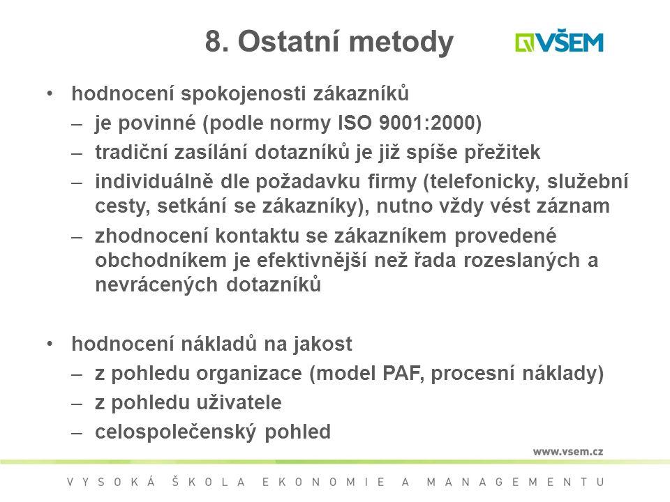 8. Ostatní metody hodnocení spokojenosti zákazníků –je povinné (podle normy ISO 9001:2000) –tradiční zasílání dotazníků je již spíše přežitek –individ