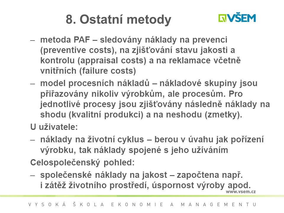 8. Ostatní metody –metoda PAF – sledovány náklady na prevenci (preventive costs), na zjišťování stavu jakosti a kontrolu (appraisal costs) a na reklam