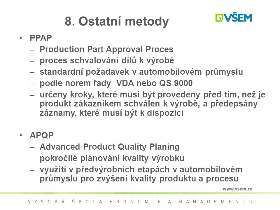 8. Ostatní metody PPAP –Production Part Approval Proces –proces schvalování dílů k výrobě –standardní požadavek v automobilovém průmyslu –podle norem