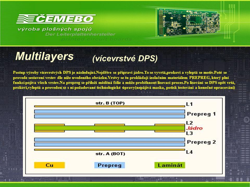 Multilayers (vícevrstvé DPS) Postup výroby vícevrstvých DPS je následující.Nejdříve se připraví jádro.To se vyvrtá,prokoví a vyleptá se motiv.Poté se