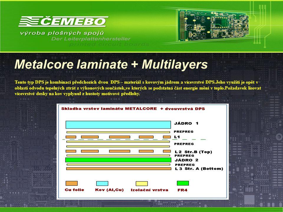Metalcore laminate + Multilayers Tento typ DPS je kombinací předchozích dvou DPS – materiál s kovovým jádrem a vícevrstvé DPS.Jeho využití je opět v o