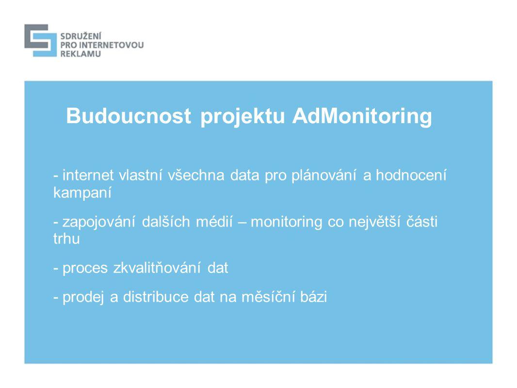 Budoucnost projektu AdMonitoring - internet vlastní všechna data pro plánování a hodnocení kampaní - zapojování dalších médií – monitoring co největší