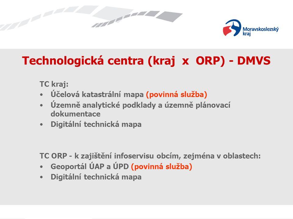 Technologická centra (kraj x ORP) - DMVS TC kraj: Účelová katastrální mapa (povinná služba) Územně analytické podklady a územně plánovací dokumentace Digitální technická mapa TC ORP - k zajištění infoservisu obcím, zejména v oblastech: Geoportál ÚAP a ÚPD (povinná služba) Digitální technická mapa