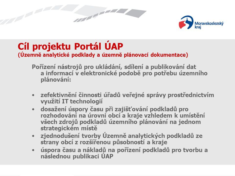 Cíl projektu Portál ÚAP (Územně analytické podklady a územně plánovací dokumentace) Pořízení nástrojů pro ukládání, sdílení a publikování dat a informací v elektronické podobě pro potřebu územního plánování: zefektivnění činnosti úřadů veřejné správy prostřednictvím využití IT technologií dosažení úspory času při zajišťování podkladů pro rozhodování na úrovni obcí a kraje vzhledem k umístění všech zdrojů podkladů územního plánování na jednom strategickém místě zjednodušení tvorby Územně analytických podkladů ze strany obcí z rozšířenou působností a kraje úspora času a nákladů na pořízení podkladů pro tvorbu a následnou publikaci ÚAP
