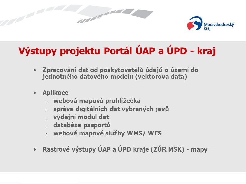 Výstupy projektu Portál ÚAP a ÚPD - kraj Zpracování dat od poskytovatelů údajů o území do jednotného datového modelu (vektorová data) Aplikace o webová mapová prohlížečka o správa digitálních dat vybraných jevů o výdejní modul dat o databáze pasportů o webové mapové služby WMS/ WFS Rastrové výstupy ÚAP a ÚPD kraje (ZÚR MSK) - mapy