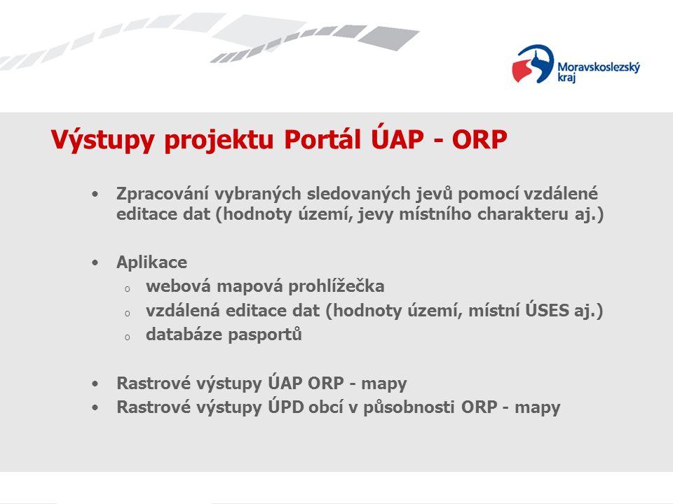 Výstupy projektu Portál ÚAP - ORP Zpracování vybraných sledovaných jevů pomocí vzdálené editace dat (hodnoty území, jevy místního charakteru aj.) Aplikace o webová mapová prohlížečka o vzdálená editace dat (hodnoty území, místní ÚSES aj.) o databáze pasportů Rastrové výstupy ÚAP ORP - mapy Rastrové výstupy ÚPD obcí v působnosti ORP - mapy